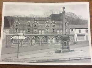 Market Place Castle Rock Settle by Gilmour North Yorkshire Drawing Print 8x6""