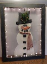 Large Lighted Snowman Christmas Holiday Door Screen Framed Wall Hanging