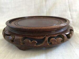 Vintage Chinese Carved Wooden Vase Stand 127- mm Interior Diameter for Vase