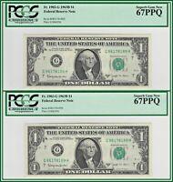 Consecutive 1963B $1 Chicago Barr Notes (2) PCGS 67 PPQ Superb Gem New Unc FRN