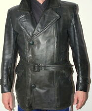 Men's Post WW2 German 50's Motorcycle Bike Leather Jacket Coat 48 / UK 38-40 S-M