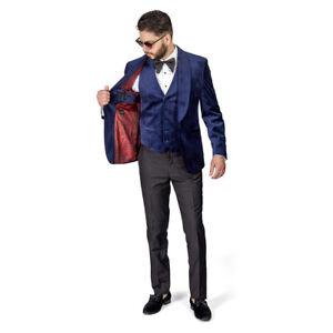 NAVY Shawl Lapel VELVET 3 Piece Vested Slim Fit Tuxedo 1Button Black Pants AZAR