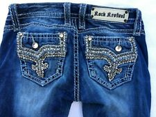 Rock Revival Jeans Betty Boot Cut Low Rise Embellished Distressed Sz 28 30x34