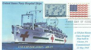 USS CONSOLATION AH-15 US Navy Hospital Ship: Korean War Ship,Photo First Day PM