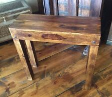 "Accent Table Rustic Reclaimed Hardwood Narrow 10"" Depth Brown Finish"