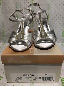 Michelangelo Davids Bridal White Silver Faux Rhinestone Sandals Women's 6.5 M