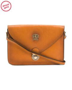PRATESI Firenze Leather envelope shoulder bag Cognac Best Italy leather BNEW