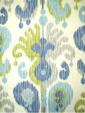 Aqua Paisley Ikat Drapery Upholstery Fabric by Braemore Journey CL Aquamarine
