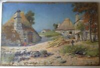Antique Oil French Impressionist Painting PONT-AVEN Landscape GUSTAVE LOISEAU