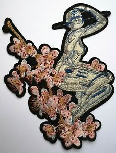 Large Alien Robot Warrior Japanese Manga Applique Embroidered Cherry Blossom