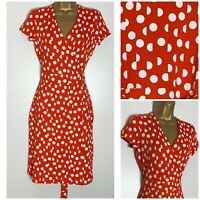 Hobbs Sally Red Spot Print Stretch Jersey Wrap Dress 6 - 18  (h-2h)