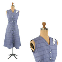 Vintage 50s Dark Blue Crisp Cotton Button Down A Line Flare Preppy Day Dress S