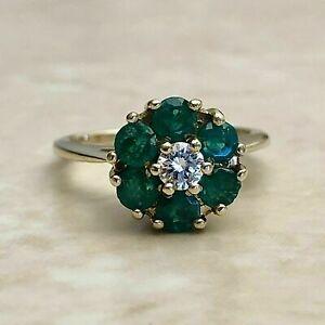 14K Yellow Gold Finish 1.14CT Round Cut Diamond & Emerald Engagement Halo Ring