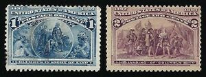 2 Vintage 1893 World's Columbian Exposition Chicago Commemorative Postage Stamps