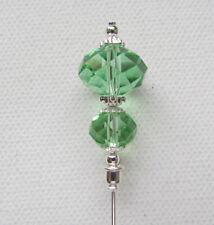 "GREEN CRYSTAL Vintage Antique Tibetan Silver Style 6"" Hat Pin Jellybean"
