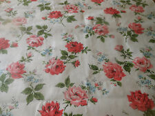 Vintage Roses Forget me Not Floral Chintz Polished Cotton Fabric ~ Pink Blue