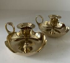 Wee Willie Winkie Scalloped Edged Brass Candle Holders/Chambersticks