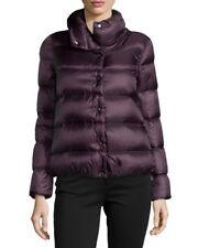 Auth NWT Moncler Women Bourdon Snap-Front Short Puffer Coat Jacket Dark Red $985
