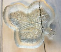 Vintage Glass Leaf Shaped Candy Dish Clear Pressed Embossed Trinket