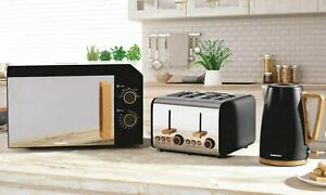 Daewoo Skandia 1.7L Kettle, 4 Slice Toaster & 20L Microwave Set Appliance -Black