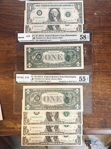 $1 Error. LOT OF 7. Federal Reserve Note. Fr. 1910-C 1977A. PCGS 58 & 55 Graded.