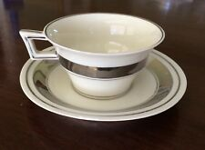 Theodore Haviland Limoges H 7 Ivory with Platinum Trim Tea Cup & Saucer