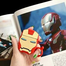 For Apple Airpods Earphone Marvel Cute 3D Iron Man Ring Silicone Protective Case