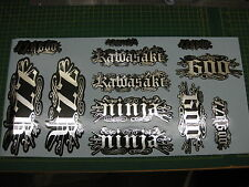 SET OF 12 RELENTLESS STYLE GRAPHICS FOR ZZR600 NINJA SILVER ON BLACK