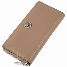 BNEW MICHAEL KORS Fulton Dk Khaki Zip Around Continental Leather Wallet