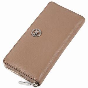 BNEW MICHAEL KORS Fulton Dk Khaki Zip Around Continental Leather Wallet