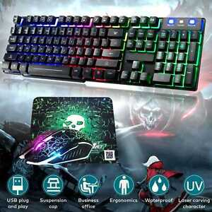 Gaming Keyboard Mouse Set Rainbow Backlit Wired USB For PC Laptop PS4 Xbox One