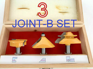 "3pc 1/2"" SH Drawer Lock, 45° Chamfer&45° Miter, Joint-B Router Bit Set S"