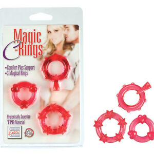 California Exotic Magic C-Rings Red 3 Men Cock Rings Male Stamina Hard Cock
