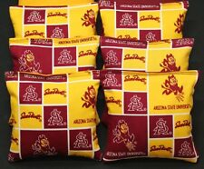 8 Double Sided Cornhole Beanbags made w Arizona State Sun Devils Fabric