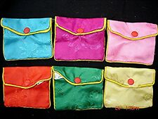6 CHINESE L 9x9 cm COLOR SILK DAMASK PURSE BAG JEWELLERY POUCH CASE PARTY Q9