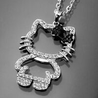 Hello Kitty Pendant Necklace Long Silver Chain Fashion Jewlery Love Crystal Gift