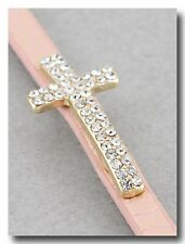 Beautiful Crystal Sparkle Cross Bracelet on Pink Shimmer Leather Band