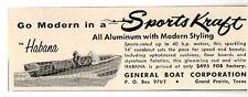 1958 Vintage Ad The Sports Kraft Habana General Boat Corp Grand Prairie,TX