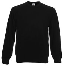 FRUIT OF THE LOOM BLACK SWEATSHIRT JUMPER  S M L XL XXL