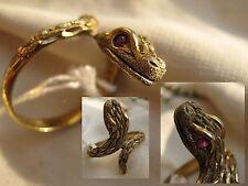 Vintage toller Ring 925 Silber vergoldet Rubin Schlangenring viper Silver RG 50