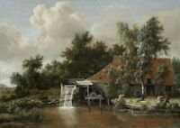 """perfect 36x24 oil painting handpainted on canvas""""a water mill""""N9442"""