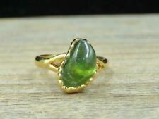Vintage 18K Yellow Gold Plated Green Agate Southwest Ring Size 5
