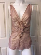 Twelfth Steet By Cynthia Vincent Gold Pink Blush Silk Top Light Weight XS S 2 0
