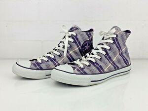 CONVERSE Chuck Taylor purple High Tops Women's Size 9 shoes plaid tartan VGC