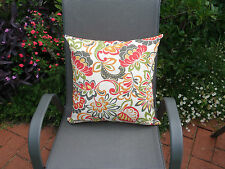 Outdoor Grey Red Green Flower Leaf Pattern Cushion Cover 40/45cm size Au Made