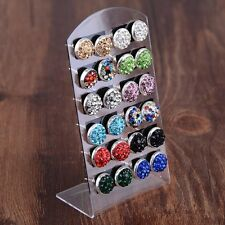12 Pairs Fashion Charm Assorted Colour Crystal Diamante Ear Studs Earring Set