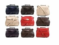 LADIES FAUX  LEATHER HANDBAG MESSENGER CROSS BODY SHOULDER FLAP OVER BAG SATCHEL
