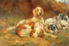 ZWPT557 hand-painted modern four animals dogs rest art oil painting canvas