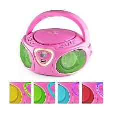 Auna Boombox Portable Radio CD Player USB Mp3 Bluetooth Headphone HIFI FM Pink