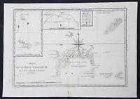 1780 Bonne Original Antique Map of Santa Cruz Isles, Solomon Islands Sth Pacific